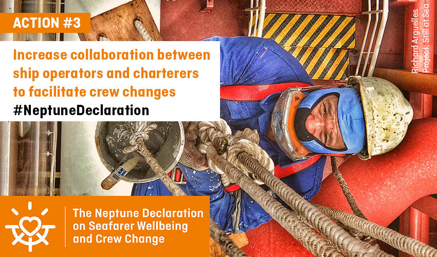 Increase collaboration between ship operators and charterers to facilitate crew changes